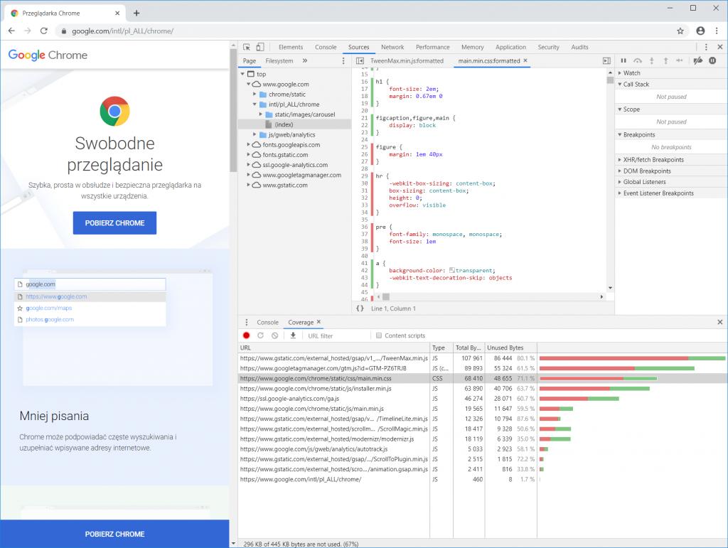Chrome DevTools zmniejszanie wagi strony 2
