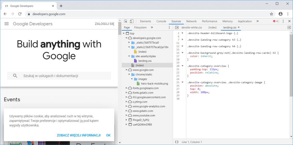 Chrome DevTools przegladanie plików źródłowych 2