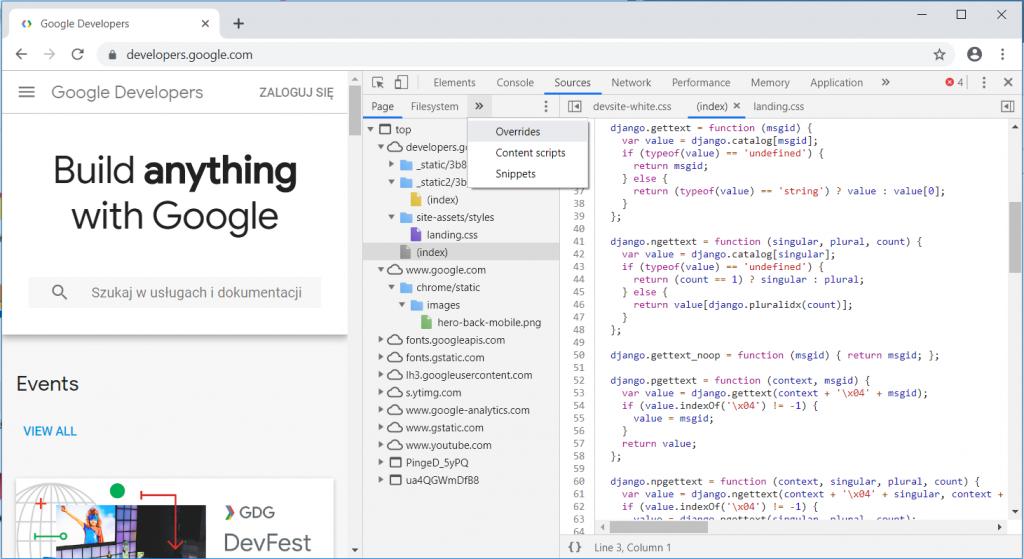 Chrome DevTools mockowanie danych 1