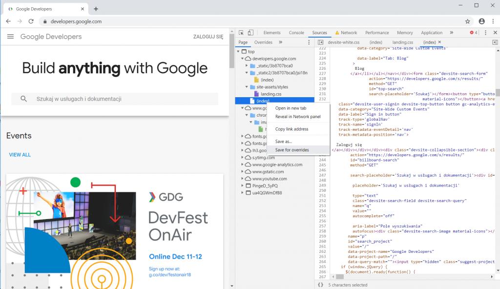 Chrome DevTools mockowanie danych 2